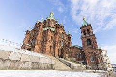 Helsinki city, Finland. Helsinki, Finland. Uspenski Cathedral Uspenskin katedraali, an Eastern Orthodox cathedral dedicated to the Dormition of the Virgin Mary royalty free stock photography