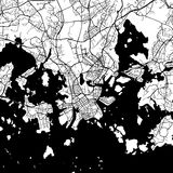 Helsinki Finland Vector Map. Monochrome Artprint, Outline Version for Infographic Background, Black Streets and Waterways Royalty Free Stock Photo