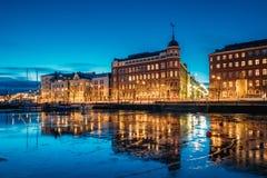 Helsinki, Finland. View Of Pohjoisranta Street In Evening Or Night Stock Photo