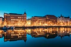 Helsinki, Finland. View Of Pohjoisranta Street In Evening Or Night Stock Images