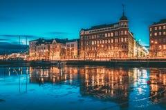 Helsinki, Finland. View Of Pohjoisranta Street In Evening Or Night Illumination.  royalty free stock photo