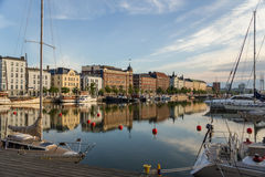 Helsinki, Finland. Yachts and old ships at the pier on the background of the old town Stock Photo