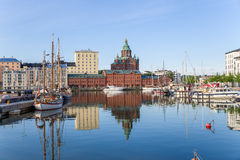Helsinki, Finland. Yachts in port on the background of the Assumption Cathedral Stock Photo