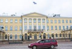 Helsinki, Finlandia - 21 dicembre 2015: Costruzione del palazzo presidenziale Immagine Stock