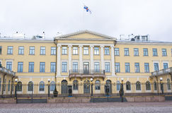 Helsinki, Finlandia - 21 dicembre 2015: Costruzione del palazzo presidenziale Immagine Stock Libera da Diritti
