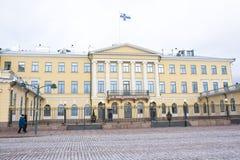 Helsinki, Finlandia - 21 dicembre 2015: Costruzione del palazzo presidenziale Immagini Stock Libere da Diritti