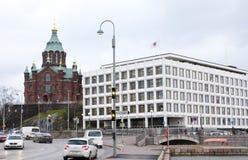 Helsinki, Finlandia - 21 dicembre 2015: La cattedrale ortodossa nel porto di Helsinki Fotografia Stock Libera da Diritti