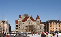 HELSINKI, FINLANDIA - 17 MARZO 2013: Pista di pattinaggio sul quadrato centrale nell'inverno Immagini Stock Libere da Diritti