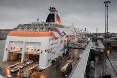 HELSINKI FINLANDIA, PAŹDZIERNIK, - 27: ferryboat TALLINK cumuje przy cumowaniem w porcie miasto Helsinki, Finlandia PAŹDZIERNIK Obrazy Royalty Free