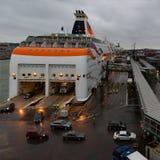 HELSINKI FINLANDIA, PAŹDZIERNIK, - 27: ferryboat TALLINK cumuje przy cumowaniem w porcie miasto Helsinki, Finlandia PAŹDZIERNIK Zdjęcie Royalty Free