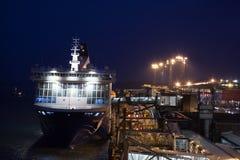 HELSINKI FINLANDIA, PAŹDZIERNIK, - 25: ferryboat Finlandia cumuje przy cumowaniem w porcie miasto Helsinki, Finlandia OCTOBE Zdjęcia Royalty Free