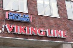 HELSINKI, FINNLAND - 25. OKTOBER: Anschlussanlage der Fährenfirma Viking Line in Helsinkii, Finnland am 25. Oktober 2016 Lizenzfreie Stockfotografie