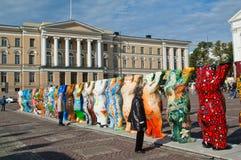 HELSINKI, FINNLAND - vereinigter Freund trägt Ausstellung Lizenzfreie Stockfotos