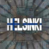 Helsinki flag text on Euros burst illustration. Helsinki flag text on Euros burst abstract background illustration Stock Photos