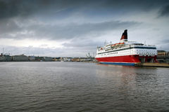 Helsinki Harbor. A cruise ship, docked in the harbor of Helsinki, Finland Royalty Free Stock Photo