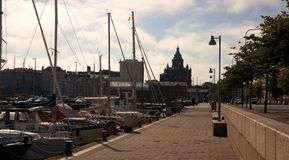 Helsinki harbor. Harbor in Helsinki city centre with view of Uspenski cathedral Royalty Free Stock Images