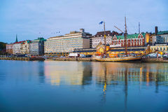 Helsinki harbor at dask Royalty Free Stock Photography