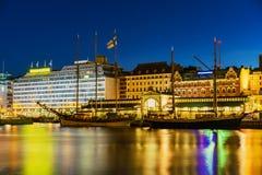 Helsinki harbor at dask. Finland Stock Image