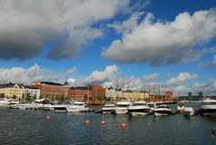 Helsinki harbor, Finland. Nordic sky over the Helsinki harbour, Finland royalty free stock photo