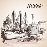 Helsinki - harbor, waterfront. Isolated on white background Stock Images