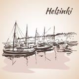 Helsinki - harbor, waterfront. Sketch. Royalty Free Stock Image