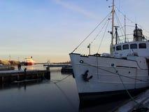 Helsinki harbor on winter evening Royalty Free Stock Photo