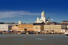 Helsinki harbour. View of Helsinki from the sea Stock Image