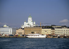 Helsinki Harbour. The Helsinki waterfront with a view of the neo-classical Lutheran Cathedral stock photography