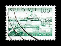Helsinki- Harbour - phosphorescent paper, Helsinki- Harbour serie, circa 1974 Royalty Free Stock Image