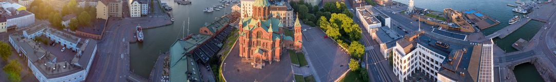 HELSINKI - JULY 2017: Panoramic aerial city view at dusk. Helsinki attracts 3 million people annually.  royalty free stock images