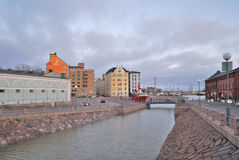 Helsinki. Kanavaranta embankment at dawn Stock Image