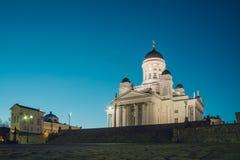Helsinki katedra wieczór, Finlandia zdjęcie stock