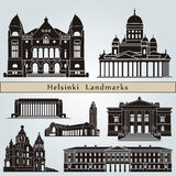 Helsinki landmarks and monuments. Isolated on blue background in editable vector file Royalty Free Stock Photography