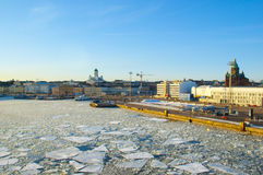 Helsinki landscape with tuomiokirkko and Assumption Cathedral Royalty Free Stock Photos