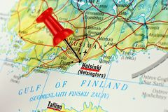 Helsinki map with pin. Close up of Helsinki on a map with red pin Royalty Free Stock Image
