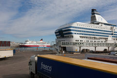 HELSINKI - MARCH 29: The Silja Line ferry at the terminal Stock Image