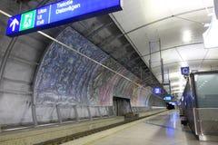 HELSINKI - 28 MAY: Helsinki Vantaa Airport trains station in Helsinki, Finland on 28 May 2016 Stock Image