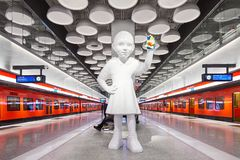 Helsinki metro, Tapiola station with Kim Simonsson`s sculpture `Emma leaves a mark` stock photography