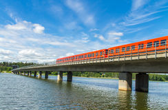 Helsinki metro train on a bridge Stock Photo