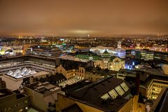 Helsinki in the night. Aerial view of city center. Helsinki, Finland - February 18, 2019: Aerial panorama of downtown. Old and modern buildings in center of city stock photos