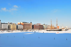 Helsinki North Harbour in  winter Stock Photo