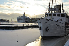 Helsinki old harbour and ships in Winter Stock Image