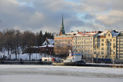 Helsinki old harbour in Winter Royalty Free Stock Photography