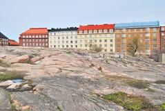 Helsinki. Paesaggio urbano roccioso Fotografie Stock