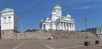 Helsinki panorama. Helsinki Lutheran Cathedral on Senate Square is a landmark of the city stock photography
