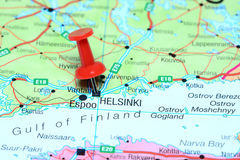 Helsinki pinned on a map of europe Royalty Free Stock Photography