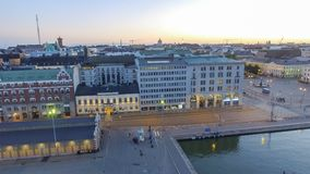 Helsinki port skyline aerial view, Finland.  royalty free stock images