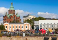 Helsinki quay with Orthodox Uspenski cathedral Stock Image