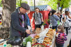 Free Helsinki Restaurant Day 2016, Girl And Pies Royalty Free Stock Photography - 71852587