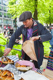 Helsinki Restaurant Day 2016, man selling pies Stock Photography